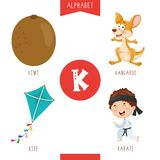 Vector Illustration Of Alphabet Letter K And Pictures. Eps 10 stock illustration