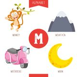 Vector Illustration Of Alphabet Letter M And Pictures. Eps 10 stock illustration