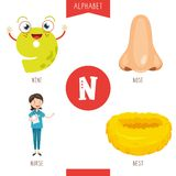 Vector Illustration Of Alphabet Letter N And Pictures. Eps 10 vector illustration