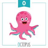 Vector Illustration Of Alphabet Letter O And Octopus. Eps 10 vector illustration