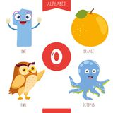 Vector Illustration Of Alphabet Letter O And Pictures. Eps 10 vector illustration