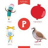 Vector Illustration Of Alphabet Letter P And Pictures. Eps 10 stock illustration