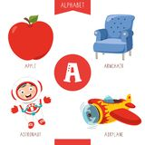 Vector Illustration Of Alphabet Letter A And Pictures. Eps 10 stock illustration
