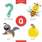Vector Illustration Of Alphabet Letter Q And Pictures. Eps 10 royalty free illustration