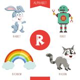 Vector Illustration Of Alphabet Letter R And Pictures. Eps 10 stock illustration
