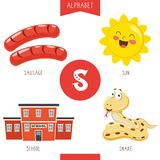 Vector Illustration Of Alphabet Letter S And Pictures. Eps 10 royalty free illustration