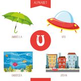 Vector Illustration Of Alphabet Letter U And Pictures. Eps 10 royalty free illustration