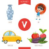 Vector Illustration Of Alphabet Letter V And Pictures. Eps 10 vector illustration