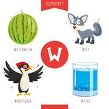 Vector Illustration Of Alphabet Letter W And Pictures. Eps 10 royalty free illustration