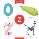 Vector Illustration Of Alphabet Letter Z And Pictures. Eps 10 stock illustration