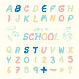 Vector illustration alphabet sketched style ,back to school. Stock Photos