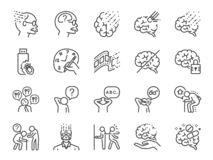 Alzheimer`s & Brain Awareness line icon set. Included the icons as Alzheimer, brain disease, Savant syndrome, mental disabilities,. Vector and illustration royalty free illustration