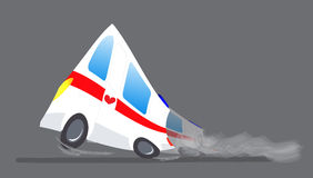 Vector illustration ambulance car. Ambulance auto paramedic emergency. Ambulance vehicle medical evacuation. Cartoon Royalty Free Stock Photography