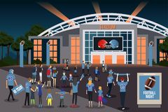 American Football Fans Going to Stadium Illustration Royalty Free Stock Images
