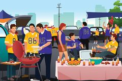 American football fans having a tailgate party. A vector illustration of American football fans having a tailgate party Royalty Free Stock Photography
