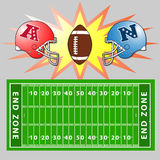 A vector illustration of an American Football fiel. Vector. illustration. American Football. field. helmets Royalty Free Stock Photography