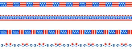Patriotic border divider american usa flag. Vector illustration of american patriotic border divider with stars like flag stock illustration