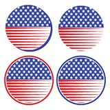 Usa flag icons vector illustration. Vector illustration of american usa flag icons on white background - four types Royalty Free Stock Photo