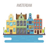 Vector illustration of Amsterdam cityscape. Royalty Free Stock Images