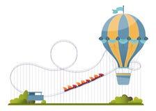 Vector illustration with amusement park elements. stock illustration