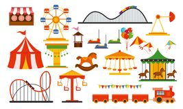 Vector illustration amusement park elements on white background. Family rest in rides park with colorful ferris wheel vector illustration