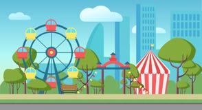 Cartoon vector illustration of an amusement public city park. vector illustration
