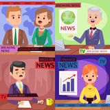 Vector Illustration anchorman breaking news and tv screen layout pofessional interview people in TV studio newsreader. Breaking news anchor. Communication Stock Photo
