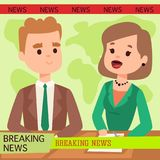 Vector Illustration anchorman breaking news and tv screen layout pofessional interview people in TV studio newsreader. Breaking news anchor. Communication Royalty Free Stock Photography