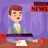 Vector Illustration anchorman breaking news and tv screen layout pofessional interview people in TV studio newsreader. Breaking news anchor. Communication Stock Images