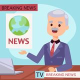 Vector Illustration anchorman breaking news and tv screen layout pofessional interview people in TV studio newsreader. Breaking news anchor. Communication Royalty Free Stock Photos