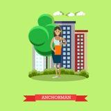 Vector illustration of anchorman, flat design. Stock Photo