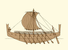 Vector illustration. Ancient Phoenician ship Stock Images