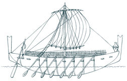 Vector illustration. Ancient Phoenician ship Stock Photo