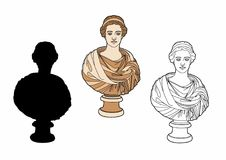Antique bust of a woman. Vector illustration of an ancient statue, EPS 10 file Royalty Free Stock Images