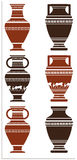 Vector Illustration of ancient vase with greek ornamen. Illustration of greek ancient vases with meanders and animals Royalty Free Stock Image
