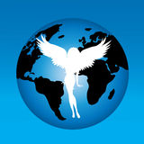 Vector illustration of angel. Vector illustration of angel on the world Stock Photo