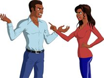Angry Black Couple Having an Argument. Vector illustration of an angry Black couple having an intense argument with hand gestures Stock Images