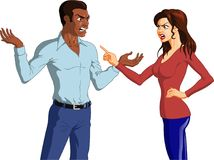 Angry Black Couple Having an Argument. Vector illustration of an angry Black couple having an intense argument with hand gestures Royalty Free Stock Photos