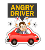 Vector Illustration: Angry Driver Label. Annoyed Cartoon Man is Looking at you from Red Car vector illustration