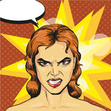 Vector illustration of angry, infuriated woman in pop art style Royalty Free Stock Photos