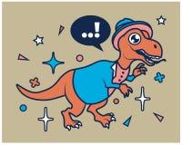 Hipster Dino Cartoon T Shirt Design. Vector Illustration of Animal Cartoon Character Dressing in Millennial Hipster Look for T-Shirt Apparel Design royalty free illustration