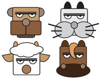 Vector illustration of animal face set. Royalty Free Stock Photo