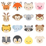 Vector illustration of animal face set. Stock Images