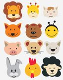 Vector illustration of animal faces. Royalty Free Stock Image