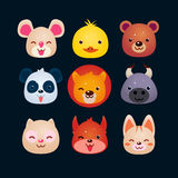 Vector Illustration of Animal Faces. Set Stock Photo