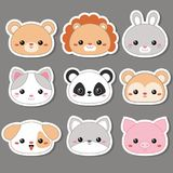 Vector illustration of animal faces. Set of cartoon cute animal faces. Vector illustration Stock Photo