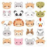 Vector illustration of animal faces. Set of cartoon cute animal faces on white background Royalty Free Stock Photos