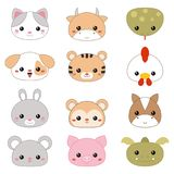 Vector illustration of animal faces. Set of chinese traditional zodiac animals faces on white background Stock Image