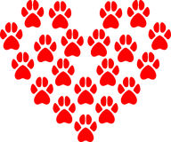 Vector illustration of animal paw prints that form the heart. Of the red color. Valentine on Valentine's day Stock Photos