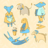Vector illustration with animals Stock Photography